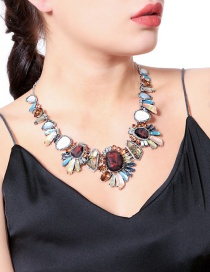 Fashion Multi-color Geometry Shape Decorated Necklace