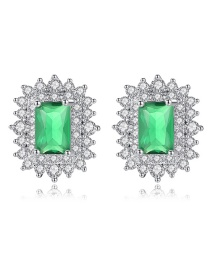 Fashion Green Square Shape Decorated Earrings