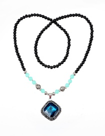 Fashion Blue Square Shape Decorated Necklace