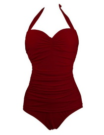 Fashion Claret Red Pure Color Decorated Swimwear