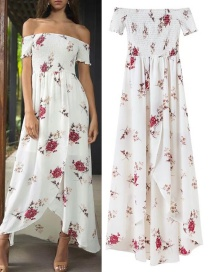 Trendy White Flower Decorated Off Shoulder Long Dress