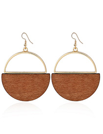 Elegant Gold Color Round Shape Decorated Simple Earrings