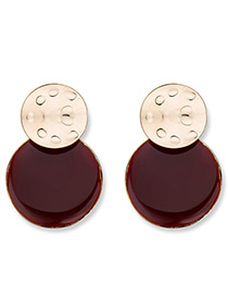 Elegant Red Round Shape Decorated Simple Earrings