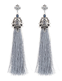 Fashion Gray Flower Shape Design Tassel Earrings