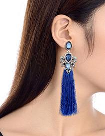 Fashion Sapphire Blue Diamond Decorated Long Tassel Earrings