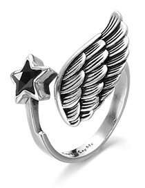 Fashion Silver Color Wings Shape Design Pure Color Ring