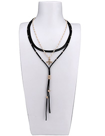 Fashion Coffee Tassel Decorated Multi-layer Choker
