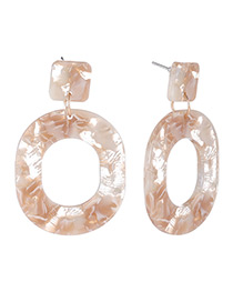 Fashion Brown Round Shape Design Hollow Out Earrings