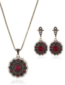 Fashion Red Round Shape Decorated Jewelry Set