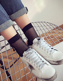 Fashion Black Pure Color Decorated Socks
