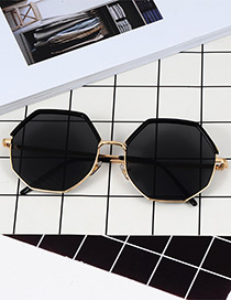 Fashion Black Polygon Shape Design Sunglasses