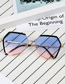 Fashion Blue Pure Color Design Polygon Shape Sunglasses