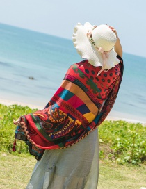 Fashion Red Geometric Shape Pattern Decorated Beach Scarf