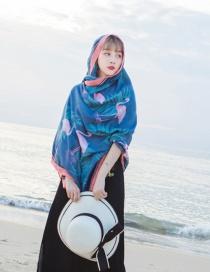 Fashion Dark Blue Flamingo Pattern Decorated Beach Scarf