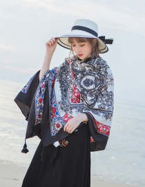 Fashion Red+black Flowers Pattern Decorated Beach Scarf