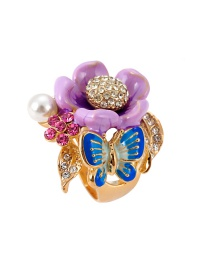 Fashion Multi-color Butterfly Shape Decorated Flower Ring