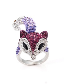 Fashion Purple Fox Shape Decorated Ring