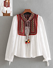 Fashion White Hollow Out Design Long Sleeves Smock