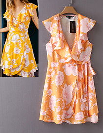 Fashion Orange V Neckline Design Flower Pattern Dress
