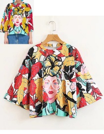 Fashion Multi-color Flower Pattern Decorated T-shirt