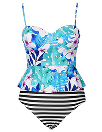 Sexy Multi-color Flowers Pattern Decorated High-waist Swimwear