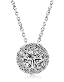 Elegant Silver Color Round Shape Decorated Necklace