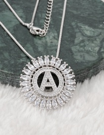 Fashion Silver Color A Letter Shape Decorated Necklace