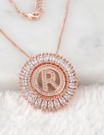 Fashion Rose Gold R Letter Shape Decorated Necklace