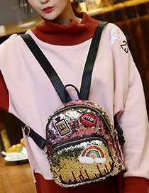 Fashion Pink+yellow Lip&bottle Shape Decorated Backpack