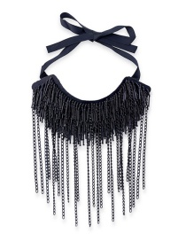 Fashion Black Pure Color Decorated Tassel Necklace