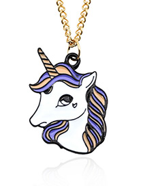 Fashion Purple+white Unicorn Shape Decorated Necklace