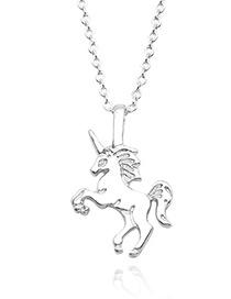 Fashion Silver Color Unicorn Shape Decorated Necklace