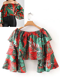 Fashion Red+green Leaf Pattern Decorated Shirt