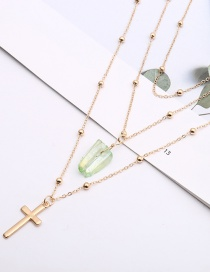 Fashion Green+gold Color Cross Shape Decorated Necklace