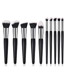 Fashion Black Pure Color Decorated Makeup Brush (4 Pcs )
