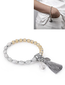 Fashion Gray+silver Color Tassel Decorated Bracelet
