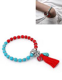 Fashion Blue+red Tassel Decorated Bracelet