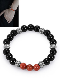 Fashion Black+brown Bead Decorated Bracelet
