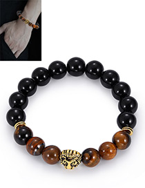 Fashion Gold Color+black Bead Decorated Bracelet