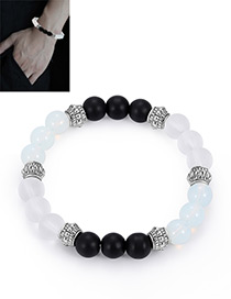 Fashion White+black Bead Decorated Bracelet