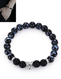 Fashion Silver Color+black Bead Decorated Bracelet