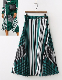 Fashion Green Stripe Pattern Decorated Skirt