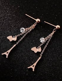 Fashion Rose Gold Tower Shape Decorated Earrings