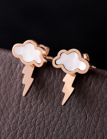 Fashion Rose Gold Cloud Shape Decorated Earrings