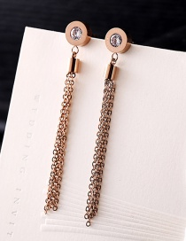 Fashion Rose Gold Tassel Decorated Earrings