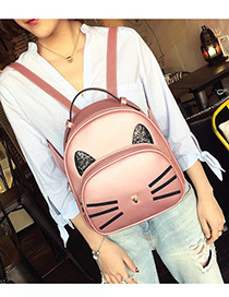 Fashion Pink Cat Pattern Decorated Backpack