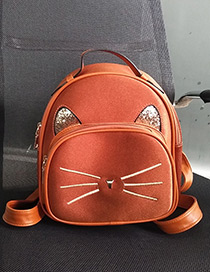 Fashion Brown Cat Pattern Decorated Backpack