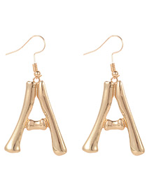 Fashion Gold Color Letter Shape Decorated Earrings