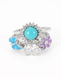 Fashion Silver Color Flower Shape Decorated Ring(3pcs)