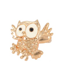 Fashion Gold Color Full Diamond Decorated Owl Ring